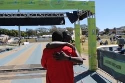 Collen Makaza and Precious Makuza on the finish line at the Inaugural Legends Marathon 68km 2013